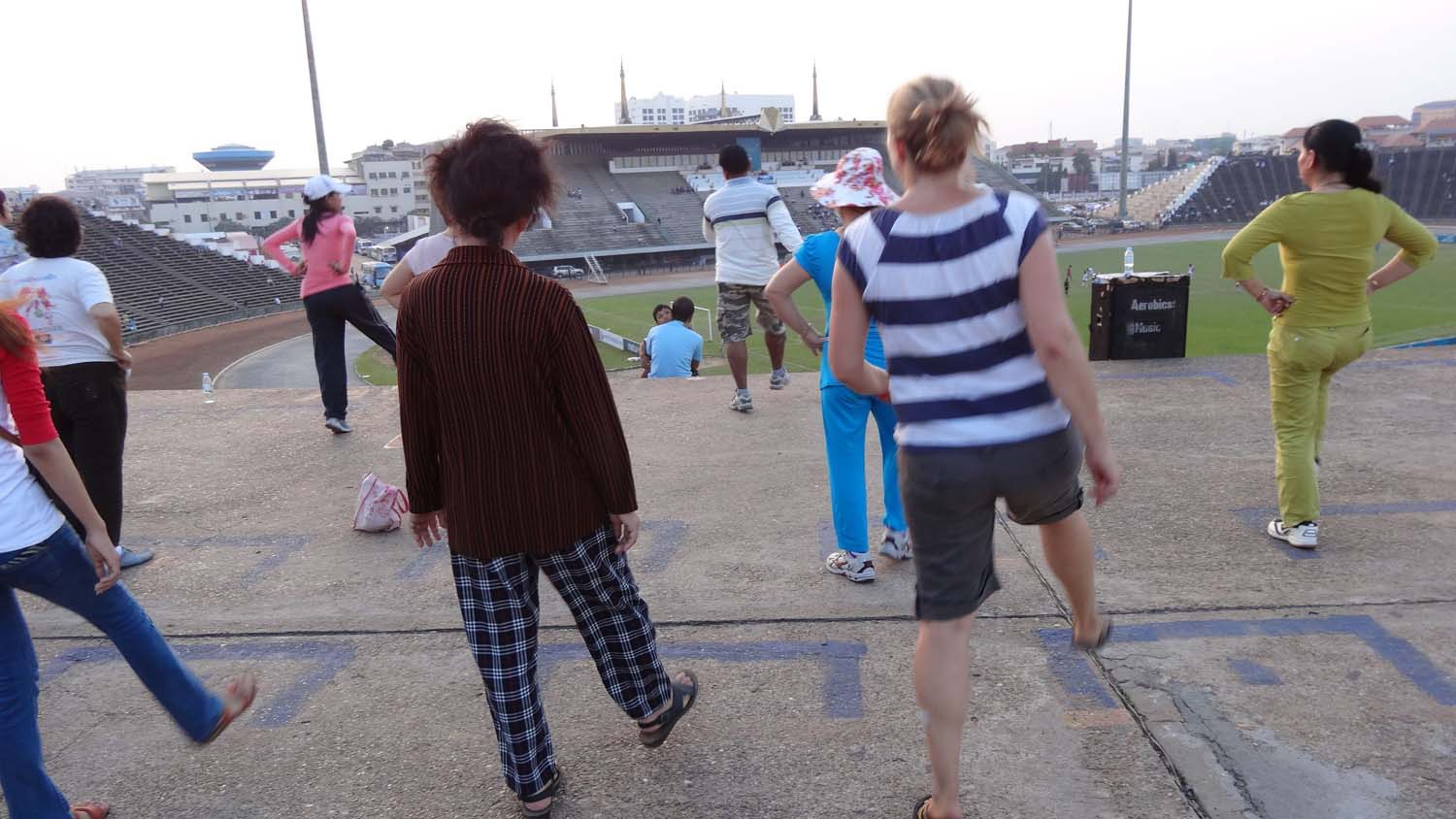 aerobics in the cool evening breeze (in thongs!)