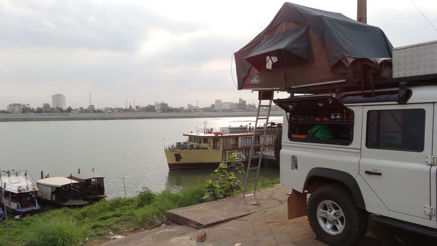 our camp site on the Mekong in the centre of the capital