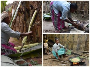 the process to make a bread by the Dorze people - they first scrape the fibre of the false banana leaf, they keep the pulp covered for 3 months so it ferments, then they make a flatbread that is baked on a plate on the open fire, we ate it and can tell you it is delicious