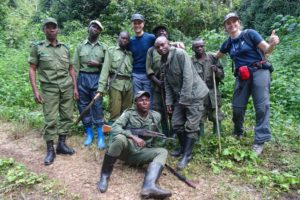 the huge team needed to see the gorillas in Kahuzi-Biega NP