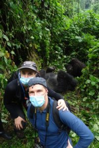 Jon and Jude with the dominant silverback Bukima, Jaza and the tiny baby girl