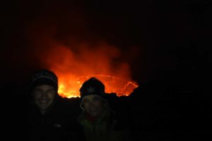 Jon and Jude with the lava lake on Nyiragongo