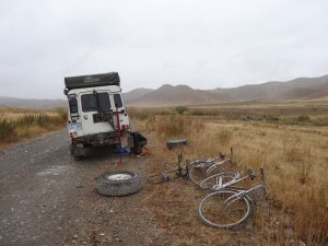 Removing the broken off protection plate in the middle of nowhere in Kyrgyzstan.