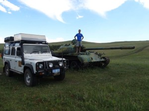 We found an old deserted tank in Mongolia.
