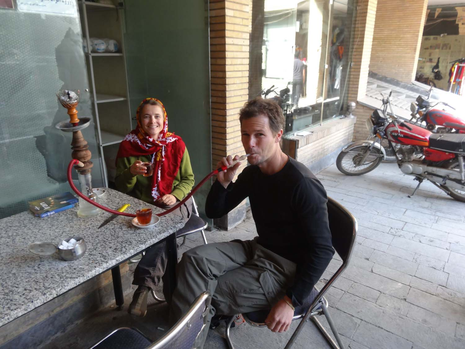 relaxing whilst having a cuppa and a qalyan (water pipe)