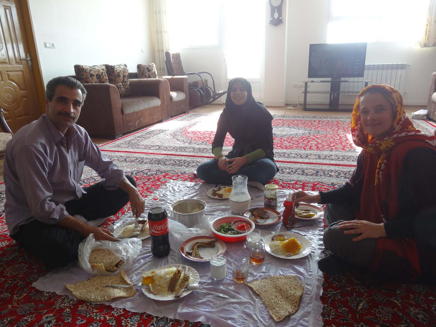 a few minutes later we share lunch with her and Mehdi, her father