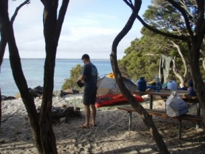 camp site right on the beach