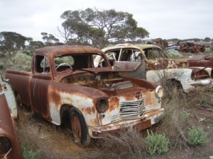 we find these old cars abandoned near an old station