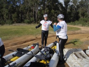 Troye and Ian getting ready for the paddle
