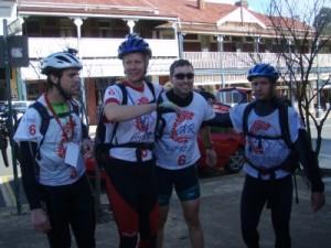 Darren, Karen, Andy and Angelo finishing