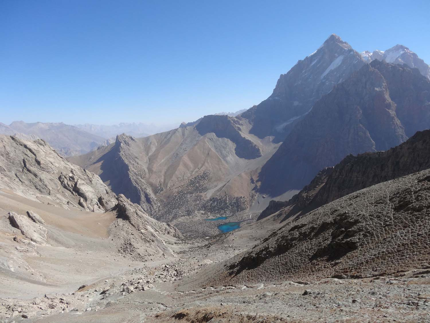 view from Alauddin pass back to the Alauddin lakes, check out the switchbacks!