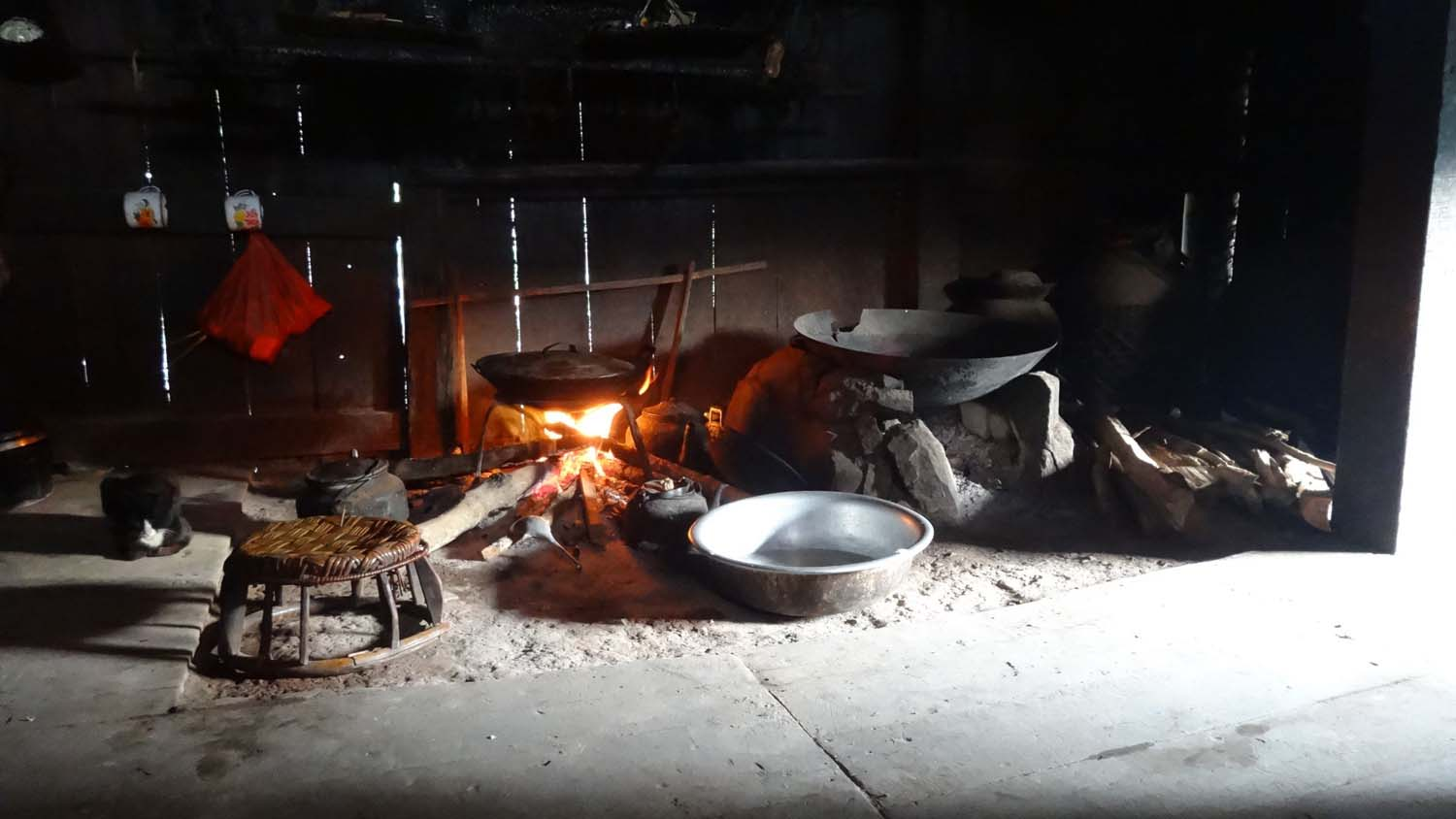 the kitchen of our homestay which feeds a family of at least 20