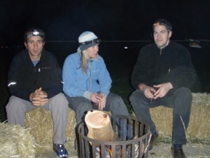 Angelo, Callie and Jonno around the fire