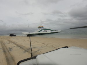 the ferry to get to Fraser Island