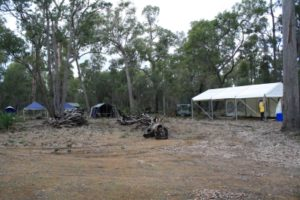 it is starting to look good, kitchen tent up, admin tents up and campfire ready