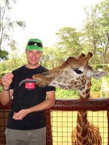 Jon at the giraffe centre