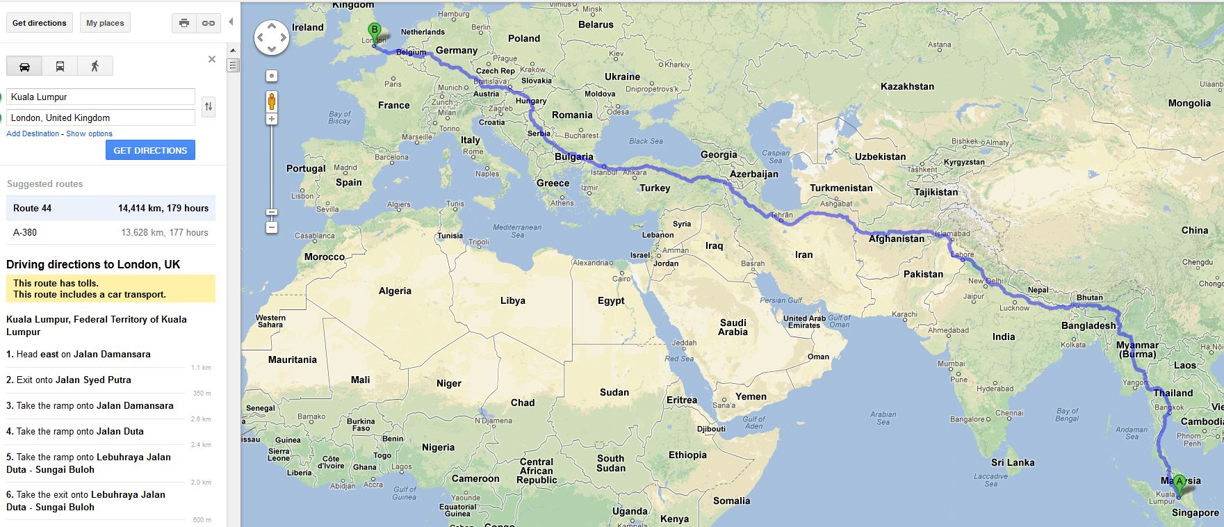 Google route planning - no option to avoid war zones...