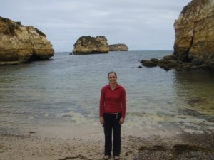 another trip in memory lane - Jude at the location of the start of the Great Ocean Road race