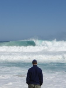 Jon watching the impressive waves
