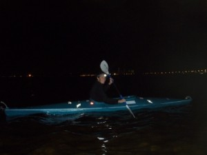 Kat on a night paddle