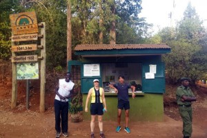 Marcel, Jude and Hafiz ready for the Wednesday night run in Karura Forest