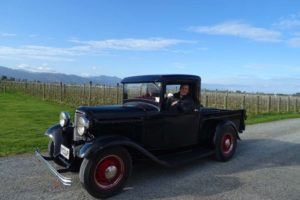 Jon super happy to drive the 1932 pick up from Jenn's parents Bruce and Sandy