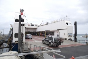 driving the Pajero onto the ferry