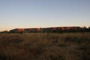 sun setting on Fitzroy Bluff