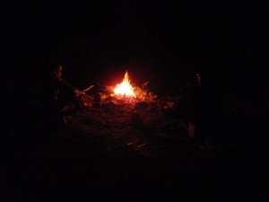 our camp fire on the overnight paddle