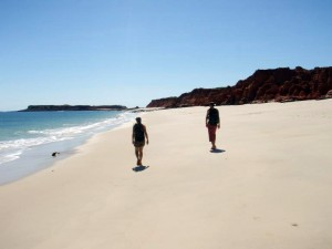 Jude and Marcus on the beach at Cape Leveque