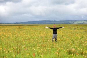 Jude in a field full of red hot pokers in Kitulo NP - kniphofia goetzei