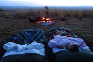 the billy is boiling in the morning for a cuppa, the best beds in the world, under the stars in the African landscape