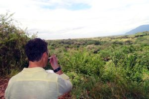 Jon eating breakfast with a view in Lake Manyara NP