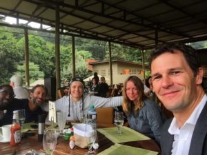 lunch at River Café in Karura Forest with Hervé, Hafiz, Jude, Helen and Jon - and a quick visit from Jean