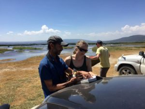 Hafiz and Jude deep in discussion about the type of bird we saw, James hard at work to set the table for lunch