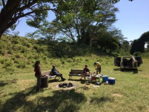 Jude, Hafiz, Helen and James at our campsite in Lake Nakuru NP