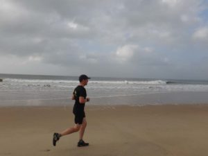 Jon on our morning run on the long beach