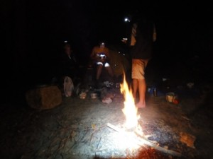 drinks and stories around the camp fire