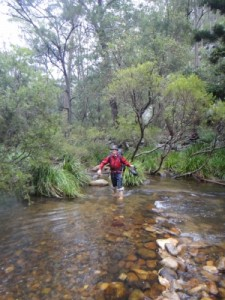 Jon crossing the creek on crocs this time :-)