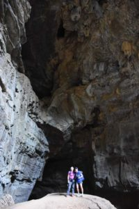 Jude and Leah at the entrance to one of the caves in Ankarana NP