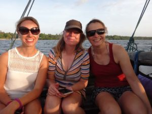 Rachael, Helen and Jude enjoying sundowners on a traditional dhow