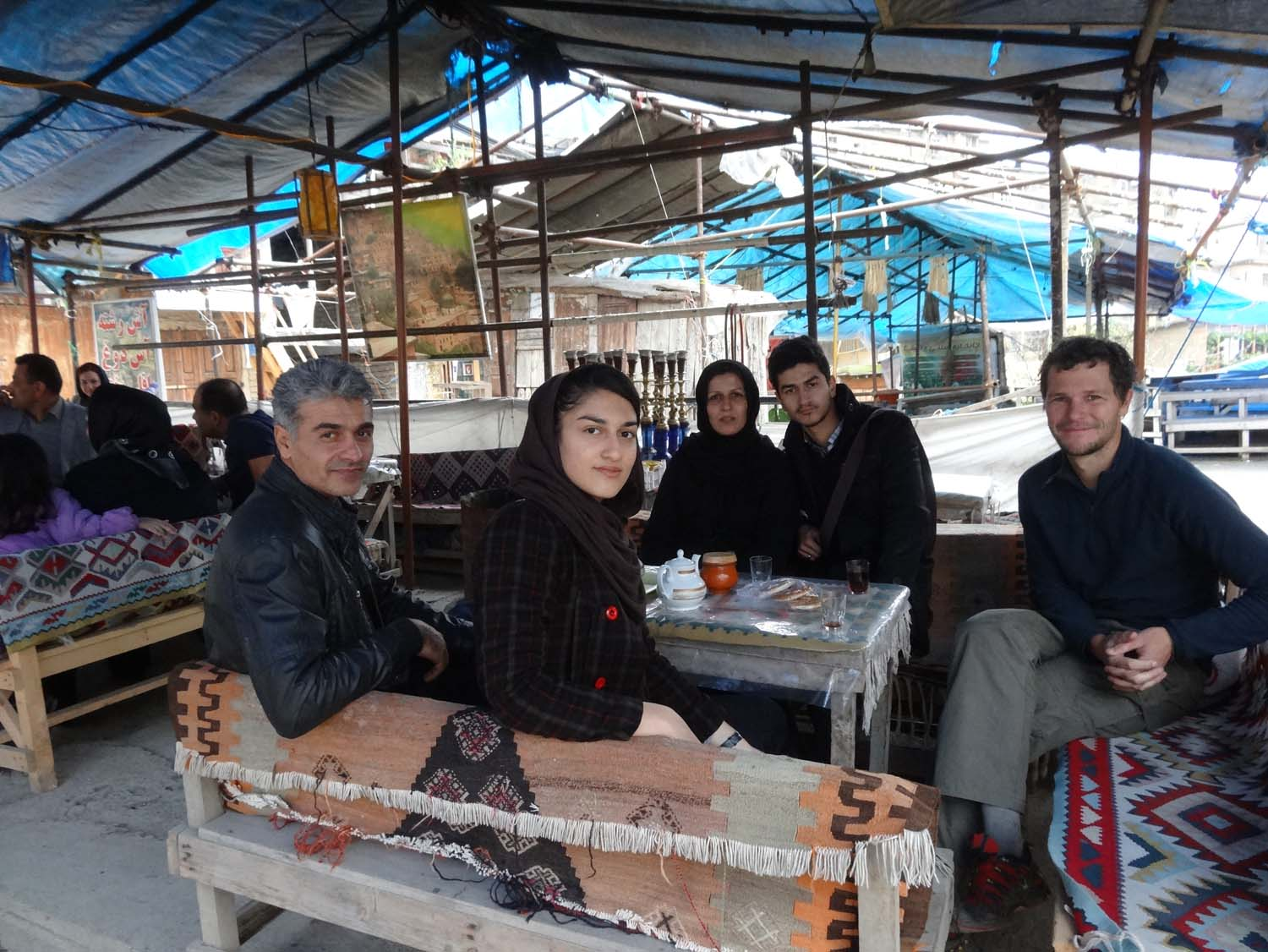 having tea in Masouleh, the qalyan (waterpipe) was on its way