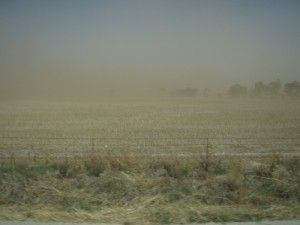 a massive dust storm on the way to Melrose