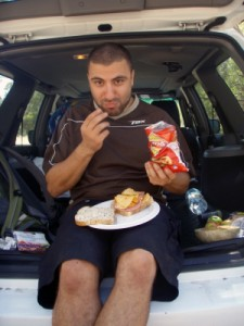 Dimi enjoying a gourmet lunch...