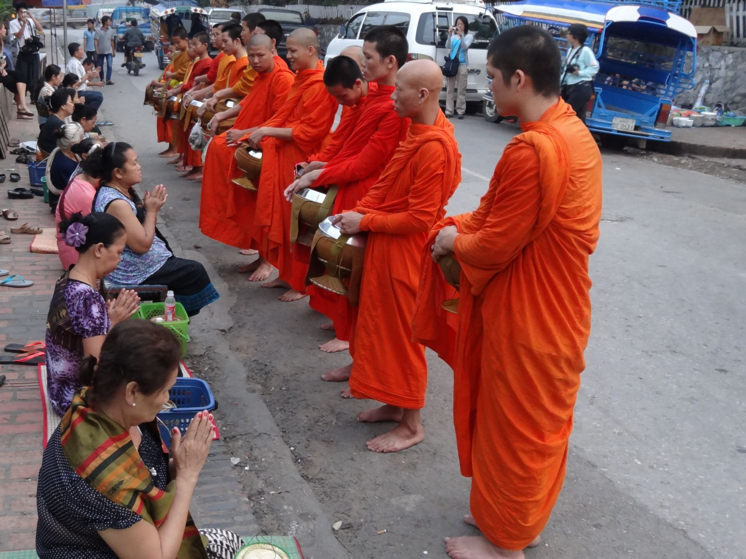6AM - giving alms to the monks