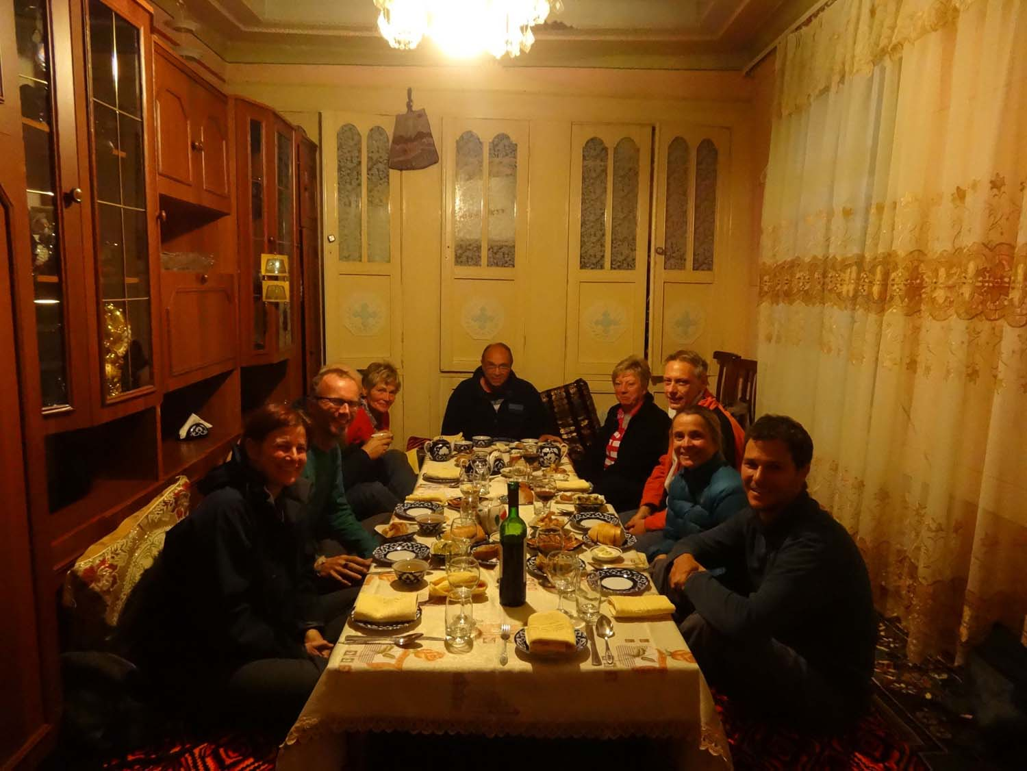 our only enjoyable dinner in Uzbekistan - the food here is diabolical
