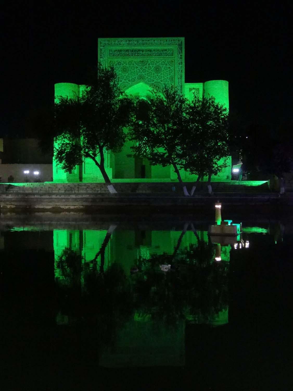 Nadir Divanbegi Khanaka in Buchara, we had dinner twice in the restaurant overlooking the Lyabi-Hauz (plaza around a pool)