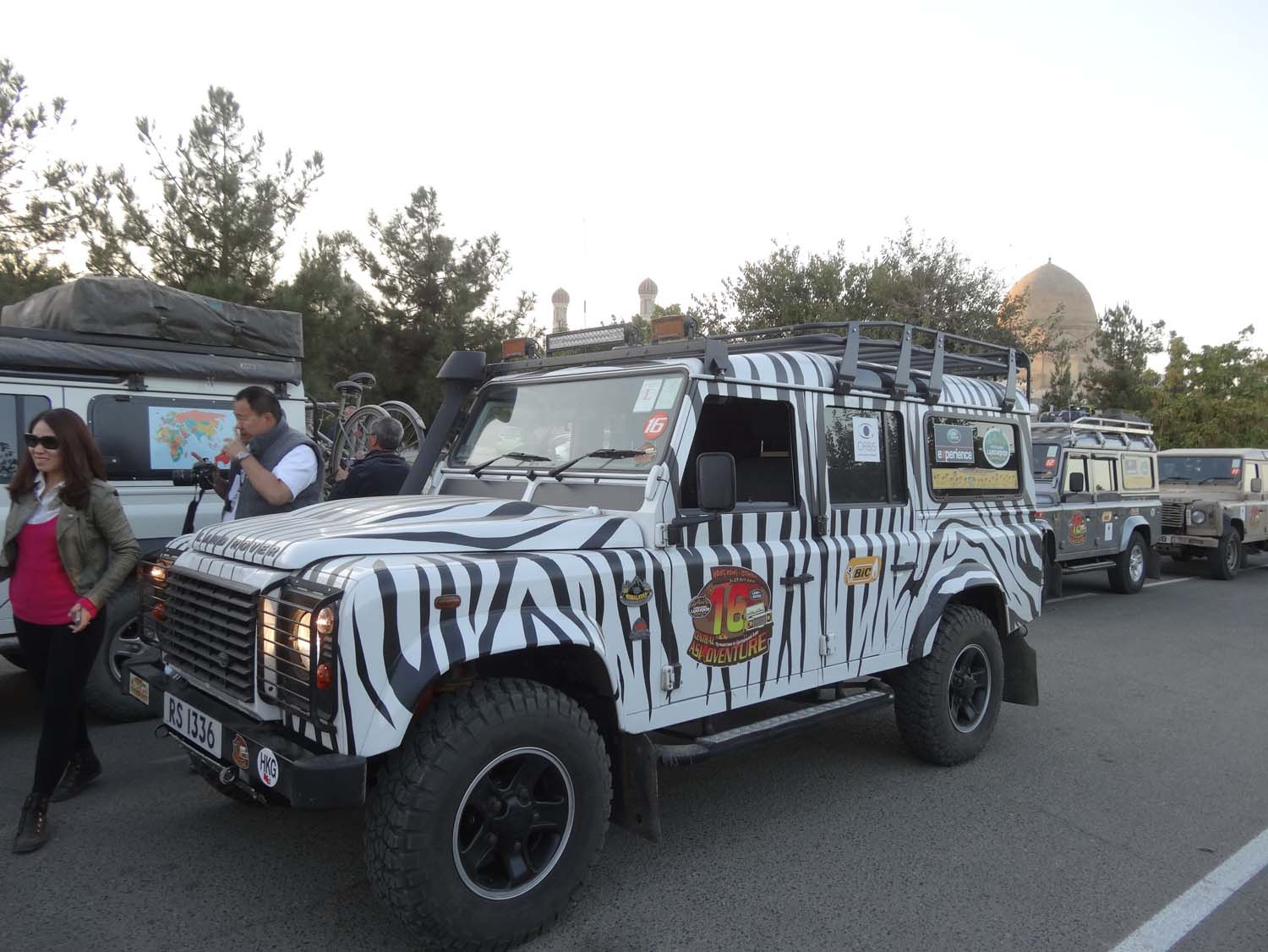 zebra and other Land Rovers in Samarkand, all members of the Hong Kong Land Rovers Club