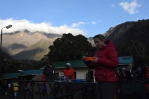 breakfast with a view of Mt Meru (in the clouds) on day 2