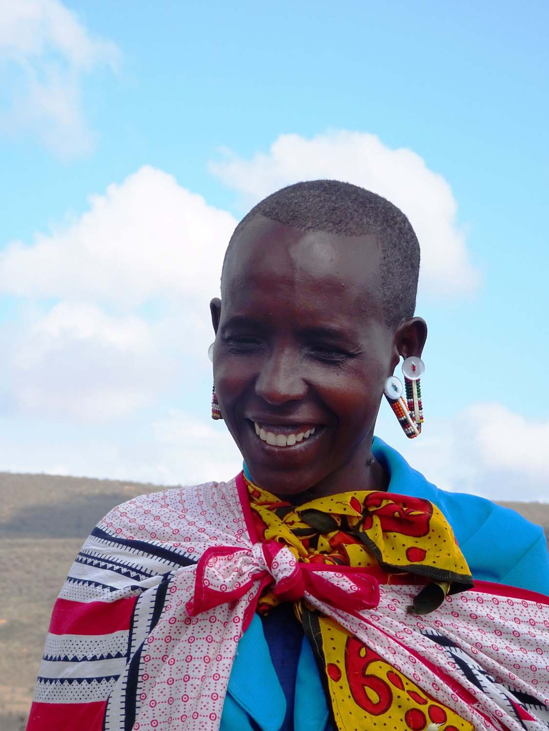 one of the sisters of our Masaai guides, it is very common for both men and women to have this type of ear decorations